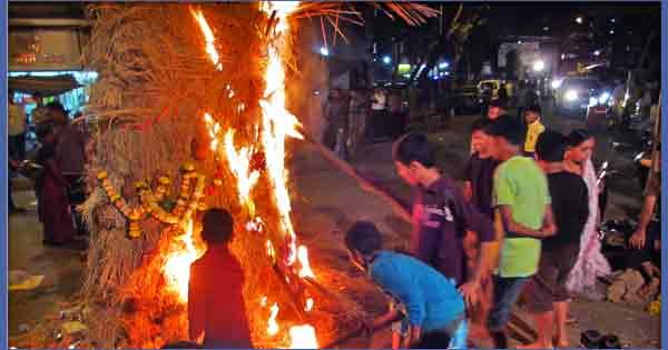 Holika Dahan or Holi Fire After Holi Puja
