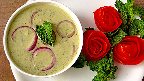 Mint Onion Raita Recipe