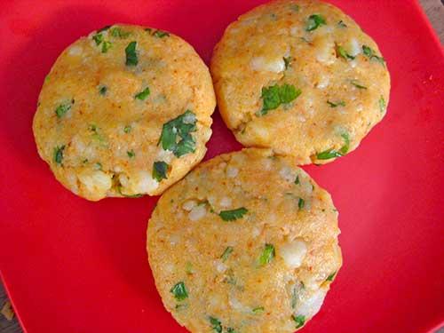 Flatten of potato mixture balls