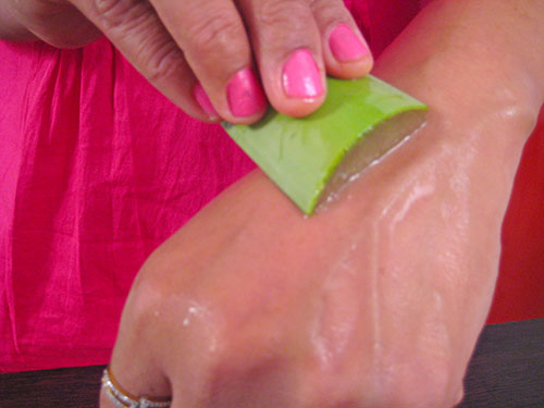 Applying aloe vera on skin