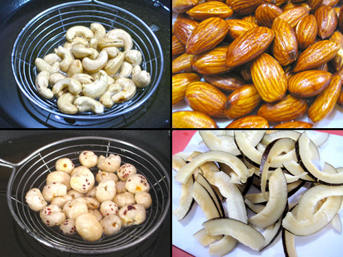 Frying of dry fruits one by one