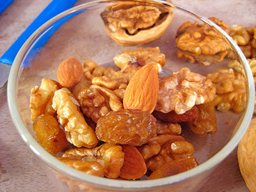 Combination Of Walnut, Raisins And Almonds
