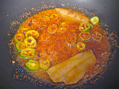 Adding Of Spices, Green Chilly And Water