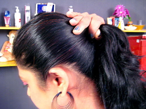 High Ponytail Hairstyle Step 1